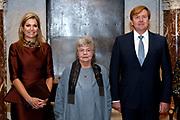 Koning Willem Alexander reikt Erasmusprijs 2016 uit aan  aan Britse schrijfster A.S. (Antonia Susan) Byatt.<br /> <br /> King Willem Alexander awards the  Erasmus Prize 2016 to British writer A.S. (Antonia Susan) Byatt.<br /> <br /> Op de foto / On the photo: Queen Maxima, Ms. A.S. Byatt, King Willem-Alexander