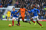 Southend United Defender, Elvis Bwomono (2) runs past Portsmouth Midfielder, Jamal Lowe (10) during the EFL Sky Bet League 1 match between Portsmouth and Southend United at Fratton Park, Portsmouth, England on 8 December 2018.