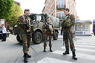 Members of the armed forces stand guard before the Europa League Quarter Final 1st leg match at RSCA Constant Vanden Stock Stadium, Anderlecht, Belgium. Picture date: April 13th, 2017.Pic credit should read: Charlie Forgham-Bailey/Sportimage