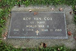 31 August 2017:   Veterans graves in Dawson Cemetery in eastern McLean County.<br /> <br /> Roy Van Cox  US Navy  World War II  Feb 9 1914  Mar 11 1980