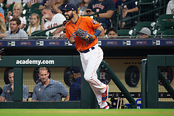 April 13, 2018 - Houston, TX, U.S. - HOUSTON, TX - APRIL 13: Houston Astros left fielder Marwin Gonzalez (9) takes the field prior to an MLB game between the Houston Astros and the Texas Rangers and April 13, 2018 at Minute Maid Park in Houston, TX.  (Photo by Juan DeLeon/Icon Sportswire) (Credit Image: © Juan Deleon/Icon SMI via ZUMA Press)