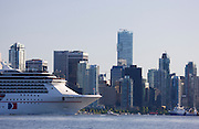 The Carnival Spirit cruise ship leaving downtown Vancouver from Coal Harbour, British Columbia, Canada.