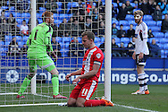 Blackburn's captain Jordan Rhodes shows his frustration after missing a chance. Skybet championship match, Bolton Wanderers v Blackburn Rovers at the Reebok Stadium in Bolton, England on Saturday 1st March 2014.<br /> pic by David Richards, Andrew Orchard sports photography.