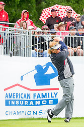 June 22, 2018 - Madison, WI, U.S. - MADISON, WI - JUNE 22: Miguel Angel JimŽnez tees off on the first tee during the American Family Insurance Championship Champions Tour golf tournament on June 22, 2018 at University Ridge Golf Course in Madison, WI. (Photo by Lawrence Iles/Icon Sportswire) (Credit Image: © Lawrence Iles/Icon SMI via ZUMA Press)