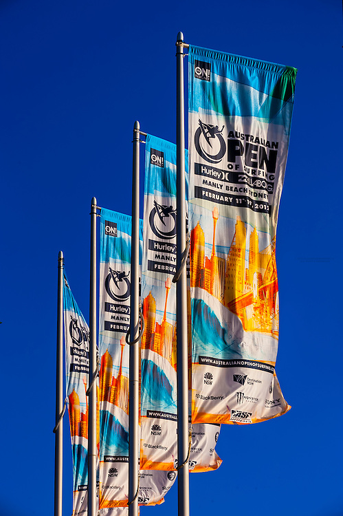 Australian Open of Surfing banners, Manly Beach, Sydney, New South Wales, Australia