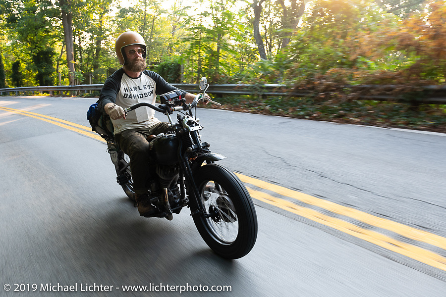 Artist Jeff Durrant riding his 1942 Harley-Davidson WLC bobber in the Cross Country Chase motorcycle endurance run from Sault Sainte Marie, MI to Key West, FL. (for vintage bikes from 1930-1948). Stage-6 from Chattanooga, TN to Macon, GA USA covered 258 miles. Wednesday, September 11, 2019. Photography ©2019 Michael Lichter.
