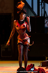 Kissa Von Addams performing on the big stage at the Buffalo Chip during the 78th annual Sturgis Motorcycle Rally. Sturgis, SD. USA. Saturday August 11, 2018. Photography ©2018 Michael Lichter.