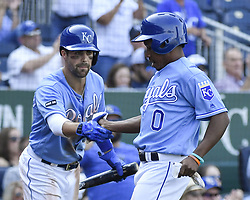 September 13, 2017 - Kansas City, MO, USA - Kansas City Royals' Terrance Gore is greeted by Whit Merrifield after scoring on a groundout by Alex Gordon in the eighth inning to tie the game during Wednesday's baseball game against the Chicago White Sox Sept. 13, 2017 at Kauffman Stadium in Kansas City, Mo. The White Sox won, 5-3. (Credit Image: © John Sleezer/TNS via ZUMA Wire)
