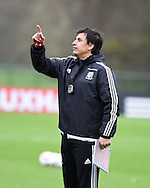 Wales football team manager Chris Coleman during the Wales football team training at Hensol Castle, Vale of Glamorgan, South Wales on Tuesday 10th November 2015. the team are training ahead of their friendly against the Netherlands on Friday,<br /> pic by  Andrew Orchard, Andrew Orchard sports photography.