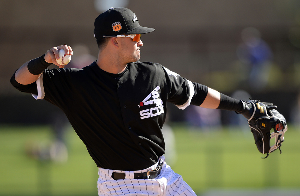 GLENDALE, ARIZONA - MARCH 06:  Former US Olympic silver medalist Eddie Alvarez of the Chicago White Sox fields during a spring training game against the San Diego Padres on March 6, 2017 at Camelback Ranch in Glendale Arizona.  (Photo by Ron Vesely)   Subject:   Eddie Alvarez