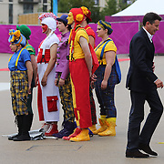 LOCOG chairman Sebastian Coe watching The National Youth Theatre perform a spectacular immersive performance, the first of fifty-five welcoming ceremonies, at the Athletes village as they welcome the team from British Virgin Islands at Olympic Park, Stratford during the London 2012 Olympic games preparation. London, UK. 17th July 2012. Photo Tim Clayton