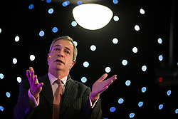 "© Licensed to London News Pictures . 30/11/2015 . Leeds , UK . NIGEL FARAGE addresses a "" Say No to the EU "" event at the Leeds United's ground at Elland Road . Photo credit: Joel Goodman/LNP"