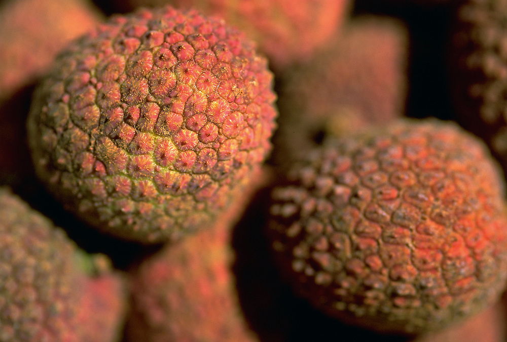 Extreme close up selective focus photograph of some Lychee nuts