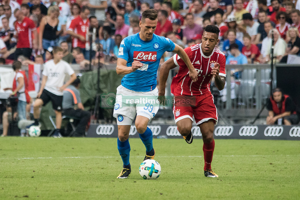 August 2, 2017 - Munich, Germany - Arkadiusz Milik of SSC Napoli fight for the ball during the Audi Cup 2017 match between Club Atletico de Madrid and SSC Napoli at Allianz Arena on August 1, 2017 in Munich, Germany. (Credit Image: © Paolo Manzo/NurPhoto via ZUMA Press)
