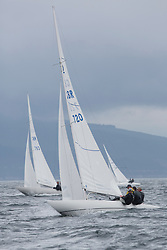 International Dragon Class Edinburgh Cup 2015.<br /> <br /> The first days racing in a strong southerly.<br /> GBR720, AIMEE, Julia Bailey, Royal Yacht Squadron<br /> <br /> <br /> Credit Marc Turner
