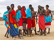 Members of the Samburu tribe in a traditional dance, Kenya. The Samburu are a Nilotic people of north-central Kenya. Samburu are semi-nomadic pastoralists who herd mainly cattle but also keep sheep, goats and camels.