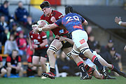 Scott Barrett of the Crusaders is tackled by Joe Powell and Ross Haylett-Petty of the Rebels during the Round 5 Trans-Tasman Super Rugby match between Melbourne Rebels and Canterbury Crusaders at Leichhardt Oval in Sydney, Saturday, June 12, 2021. (AAP Image/Dan Himbrechts) NO ARCHIVING, EDITORIAL USE ONLY