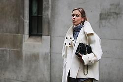 Blogger Daniella Robins arrives at the Ryan Lo Autumn / Winter 2017 London Fashion Week show at 180 Strand, London on Saturday February 18, 2017