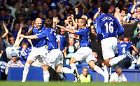 Fotball<br /> England<br /> Foto: Propaganda/Digitalsport<br /> NORWAY ONLY<br /> <br /> 09.08.2006<br /> Everton v Liverpool<br /> Everton's Andy Johnson celebrates scoring the second goal against Liverpool with his team-mates Gary Naysmith and Leon Osman during the 204th Merseyside Derby match at Goodison Park