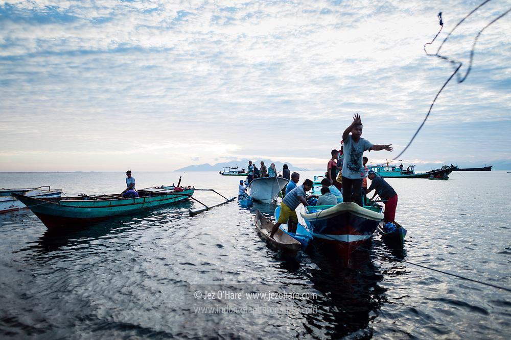 Pasar ikan di pelabuhan Maumere, Sikka, Flores, Nusa Tenggara Timur, Indonesia.