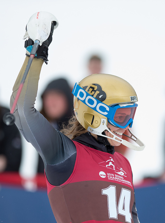 Brooke Wales of the University of Colorado, after finishing the second run of the Women's Slalom at the NCAA Division I Skiing Championships on March 14, 2015 in Wilmington, NY. (Dustin Satloff/Colby College Athletics)