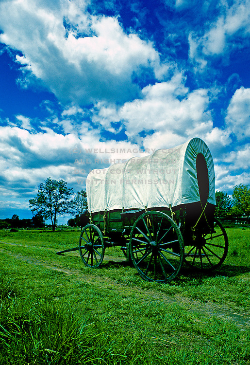 Image of a covered wagon along the Oregon Trail at the Whitman Mission National Historic Site in Walla Walla, Washington, Pacific Northwest by Randy Wells