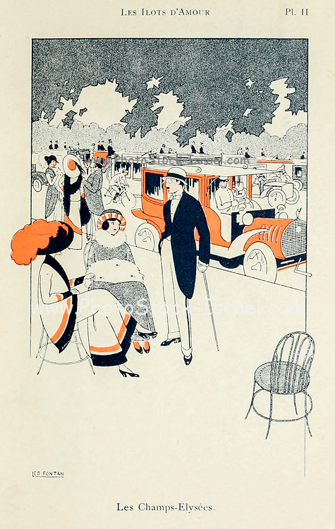 Illustration of Les Champs-Elysees from Les ilots d'amour [The Islands of Love] by Sonolet, Louis, 1874-1928 Published in Paris in 1911
