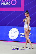 Neviana Vladinova during the qualifying ribbon at the Pesaro World Cup 2018. Neviana come from Bulgaria. She is born in Pleven in 1994. Her dream is to win a medal at the 2020 Olympic Games in Tokyo.