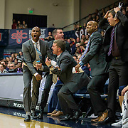Jan 06 2018  Moraga CA, U.S.A.  San Diego Toreros head coach Lamont Smith and coaching staff reacts to bad call during NCAA Men's Basketball game between San Diego Toreros and the Saint Mary's Gaels 63-70 lost at McKeon Pavilion Moraga Calif. Thurman James / CSM