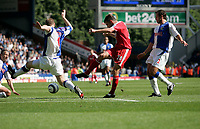 Photo: Peter Phillips.<br /> Blackburn Rovers v Fulham. The Barclays Premiership.<br /> 20/08/2005.<br /> Fulhams Brian McBride has a crck at goal in the first half