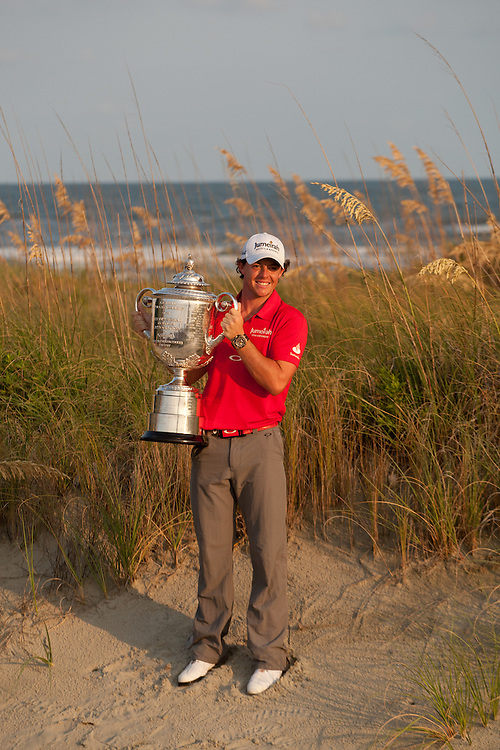 KIAWAH ISLAND, SC - AUGUST 12:  Rory McIlroy of Northern Ireland holds teh Wanamaker Trophy after winning the 2012 PGA Championship at The Ocean Course on Kiawah Island, South Carolina on August 12, 2012. (Photograph ©2012 Darren Carroll) *** Local Caption *** Rory McIlroy