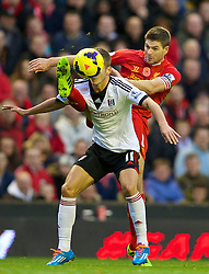 09.11.2013, Anfield, LIVERPOOL, ENG, Premier League, FC Liverpool vs FC Fulham, 11. Runde, im Bild Liverpool's captain Steven Gerrard, action // during the English Premier League 11th round match between Liverpool FC and Fulham FC at Anfield in LIVERPOOL, Great Britain on 2013/11/09. EXPA Pictures © 2013, PhotoCredit: EXPA/ Propagandaphoto/ David Rawcliffe<br /> <br /> *****ATTENTION - OUT of ENG, GBR*****