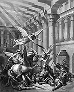 Heliodorus, attempting to take treasure from Temple at Jerusalem, is attacked by terrible horse and his rider, while angels attack his bodyguard. 2 Maccabees 3. Plate from Gustave Dore's 'Bible' 1865-1866.   Anger of God. Wood engraving.
