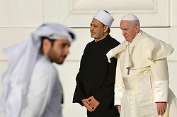 Pope Francis stands next to the Grand Imam of al-Azhar Sheikh Ahmed al-Tayeb during a visit at Sheikh Zayed Grand Mosque in Abu Dhabi on February 4, 2019. He met the Muslim Council of Elders. It is the first ever papal visit to the Arabian Peninsula, birthplace of Islam, where he will meet leading Muslim clerics and hold an open-air mass for some 135,000 Catholics. Photo by ABACAPRESS.COM