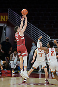 Stanford Cardinal guard Michael O'Connell (5) shoots over Southern California Trojans guard Reese Waters (21) during an NCAA men's basketball game, Wednesday, March 3, 2021, in Los Angeles. USC defeated Stanford 79-42. (Jon Endow/Image of Sport)