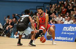Lewis Champion of Bristol Flyers dribbles the ball - Photo mandatory by-line: Arron Gent/JMP - 28/04/2019 - BASKETBALL - Surrey Sports Park - Guildford, England - Surrey Scorchers v Bristol Flyers - British Basketball League Championship