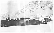 """RGS 2-8-0 #13 with flanger #01.<br /> RGS  Pandora, CO  <br /> In book """"RGS Story, The Vol II: Telluride, Pandora and the Mines Above"""" page 284<br /> See RD 155-064 for enlargement."""