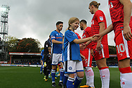 Pre-match handshakes during the EFL Sky Bet League 1 match between Rochdale and Gillingham at Spotland, Rochdale, England on 23 September 2017. Photo by Daniel Youngs.