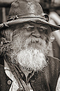 Portrait of one of the Mountain Men at the Fort Bridger Rendezvous in southern Wyoming. Trappers and traders in their authentic gear.