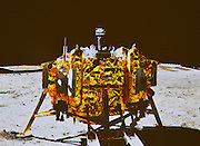 BEIJING, CHINA - China Out - Finland Out<br /> <br /> China's Moon Rover Yutu Separates From Lander<br /> <br /> Screen shows the photo of China's lunar probe Change 3's lander taken by the country's first moon rover, Yutu, during the mutual-photograph process, at the Beijing Aerospace Control Centre in Beijing, China. The moon rover and the moon lander took photos of each other Sunday night, marking the complete success of the Change-3 lunar probe mission. <br /> ©Exclusivepix