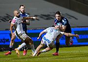 Sale Sharks full back Luke James runs at Exeter Chiefs scrum-half Jack Maunder during a Gallagher Premiership Round 11 Rugby Union match, Friday, Feb 26, 2021, in Eccles, United Kingdom. (Steve Flynn/Image of Sport)