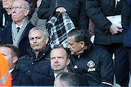 Jose Mourinho, the Manchester Utd manager looks on as he sits in the stands after his touchline ban. Premier league match, Swansea city v Manchester Utd at the Liberty Stadium in Swansea, South Wales on Sunday 6th November 2016.<br /> pic by  Andrew Orchard, Andrew Orchard sports photography.