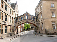 """Hertford Bridge during  Lockdown 2020 , often called """"the Bridge of Sighs"""", is a skyway joining two parts of Hertford College over New College Lane in Oxford Photo by Brian Jordan"""