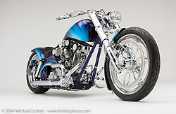 """""""Double OHC Evo,"""" by Arlen Ness. This bike has the only double overhead cam Evo Motor that Arlen has ever heard of. Appears in the book The King of Choppers by Michael Lichter."""