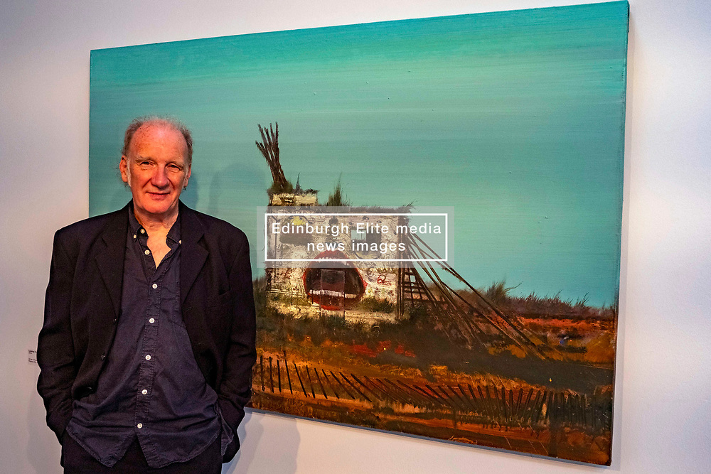 Pictured: Jock McFadyen in front of Looking out to sea 4 (2005)<br /><br />Artist Jock McFadyen's 70th birthday year is being celebrated with his Lost Boat Party exhibition at the Dovecot Studios, Edinburgh, (in partnership with The Scottish Gallery), of recent paintings which describe the romance and grandeur of the Scottish landscape, alongside the urban dystopia for which the artist is known<br />Ger Harley   EEm 10 June 2021