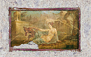 A Roman erotic fresco painting from Pompeii depicting Pan and  Hermaphrodite,  Naples National Archaeological, 50-79 AD , inv no 27700 , Naples National Secret Museum or Secret Cabinet, .<br /> <br /> If you prefer to buy from our ALAMY PHOTO LIBRARY  Collection visit : https://www.alamy.com/portfolio/paul-williams-funkystock - Scroll down and type - Roman Art Erotic  - into LOWER search box. {TIP - Refine search by adding a background colour as well}.<br /> <br /> Visit our ROMAN ART & HISTORIC SITES PHOTO COLLECTIONS for more photos to download or buy as wall art prints https://funkystock.photoshelter.com/gallery-collection/The-Romans-Art-Artefacts-Antiquities-Historic-Sites-Pictures-Images/C0000r2uLJJo9_s0