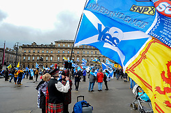 Rally for second Scottish independence date. Hope Over Fear held a rally calling for the Scottish Government to announce a date for a second independence referendum at George Square in Glasgow. Speakers included Tommy Sheridan a ride past by the group Bikers for Independence.<br /> <br /> © Dave Johnston / EEm