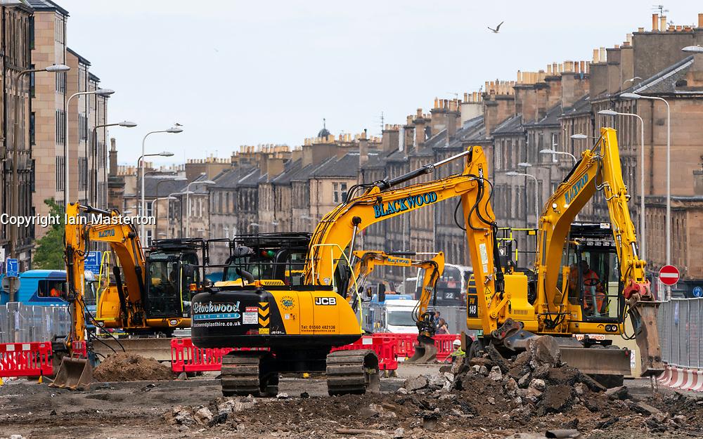 Edinburgh, Scotland, UK. 24 July, 2020. Construction work underway on Leith Walk for new Edinburgh Tram extension to Newhaven.  Iain Masterton/Alamy Live News