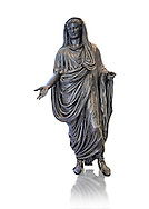 Roman bronze staue of Augustus Ceasar as Pontifex Maximus, late first century B.C, Naples National Archaeological Museum, white background ..<br /> <br /> If you prefer to buy from our ALAMY STOCK LIBRARY page at https://www.alamy.com/portfolio/paul-williams-funkystock/greco-roman-sculptures.html . Type -    Naples    - into LOWER SEARCH WITHIN GALLERY box - Refine search by adding a subject, place, background colour, etc.<br /> <br /> Visit our ROMAN WORLD PHOTO COLLECTIONS for more photos to download or buy as wall art prints https://funkystock.photoshelter.com/gallery-collection/The-Romans-Art-Artefacts-Antiquities-Historic-Sites-Pictures-Images/C0000r2uLJJo9_s0