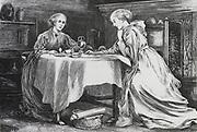 Sisters breakfasting together. Illustration for 'Whiteladies', ondon, 1875, by Margret Oliphant.